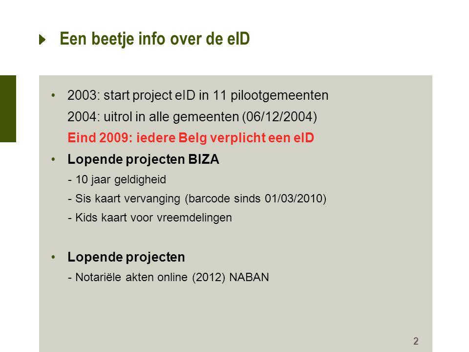 2 Een beetje info over de eID •2003: start project eID in 11 pilootgemeenten 2004: uitrol in alle gemeenten (06/12/2004) Eind 2009: iedere Belg verpli