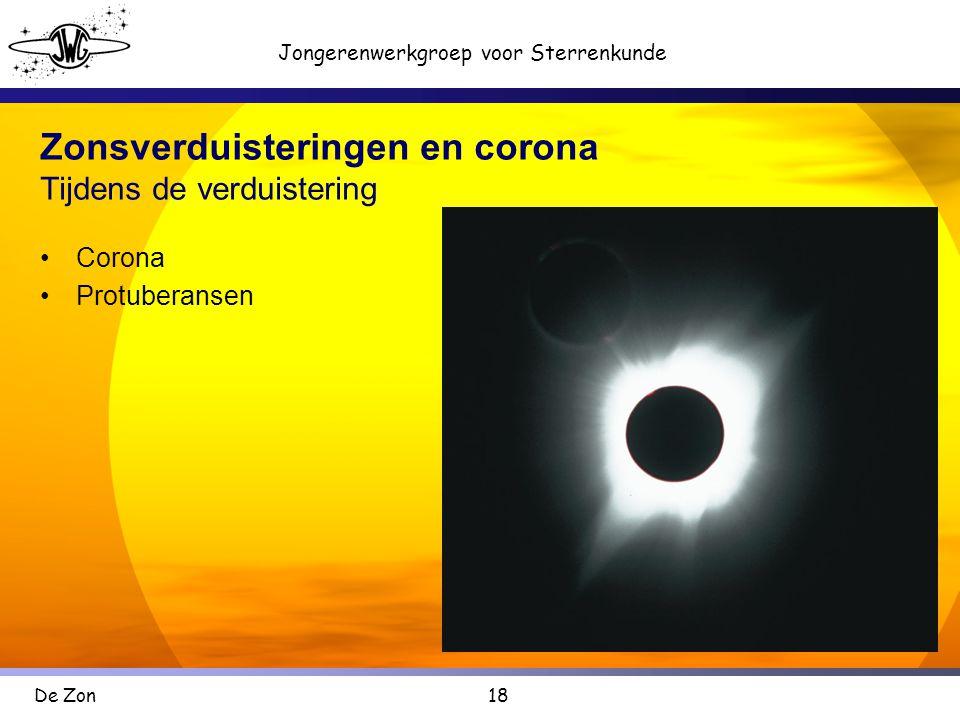 18 Jongerenwerkgroep voor Sterrenkunde De Zon Zonsverduisteringen en corona Tijdens de verduistering •Corona •Protuberansen