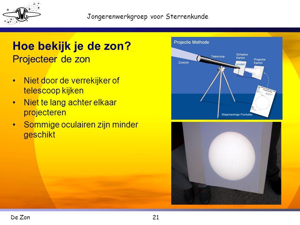 21 Jongerenwerkgroep voor Sterrenkunde De Zon Hoe bekijk je de zon.