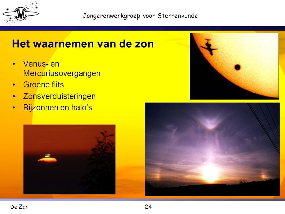 24 Jongerenwerkgroep voor Sterrenkunde De Zon Het waarnemen van de zon •Venus- en Mercuriusovergangen •Groene flits •Zonsverduisteringen •Bijzonnen en halo's