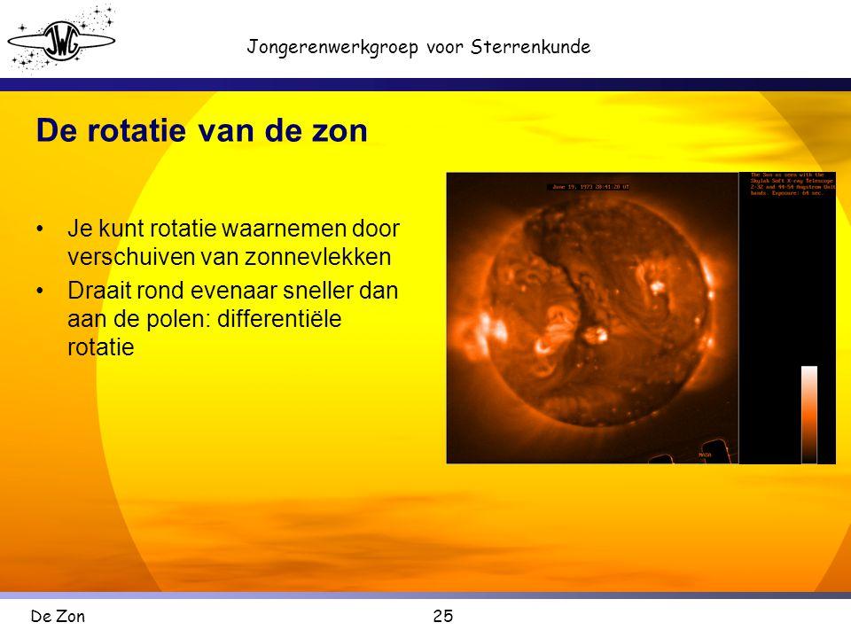 25 Jongerenwerkgroep voor Sterrenkunde De Zon De rotatie van de zon •Je kunt rotatie waarnemen door verschuiven van zonnevlekken •Draait rond evenaar sneller dan aan de polen: differentiële rotatie
