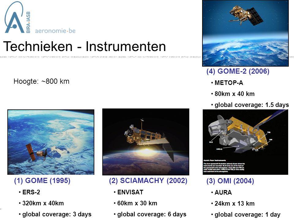 BELGISCH INSTITUUT VOOR RUIMTE-AERONOMIE INSTITUT D'AERONOMIE SPATIALE DE BELGIQUE BELGIAN INSTITUTE OF SPACE AERONOMY BELGISCH INSTITUUT VOOR RUIMTE-AERONOMIE INSTITUT D'AERONOMIE SPATIALE DE BELGIQUE BELGIAN INSTITUTE OF SPACE AERONOMY BELGISCH INSTITUUT VOOR RUIMTE-AERONOMIE INSTITUT D'AERONOMIE SPAT- Technieken - Instrumenten (1) GOME (1995) • ERS-2 • 320km x 40km • global coverage: 3 days (2) SCIAMACHY (2002) • ENVISAT • 60km x 30 km • global coverage: 6 days (4) GOME-2 (2006) • METOP-A • 80km x 40 km • global coverage: 1.5 days (3) OMI (2004) • AURA • 24km x 13 km • global coverage: 1 day Hoogte: ~800 km