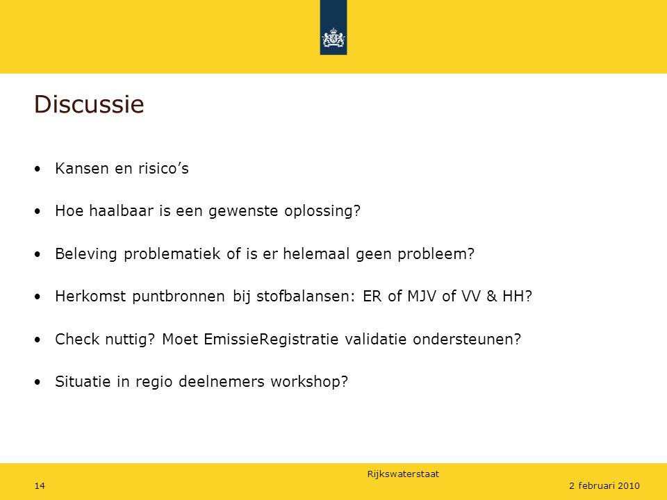 Rijkswaterstaat 142 februari 2010 Discussie •Kansen en risico's •Hoe haalbaar is een gewenste oplossing.