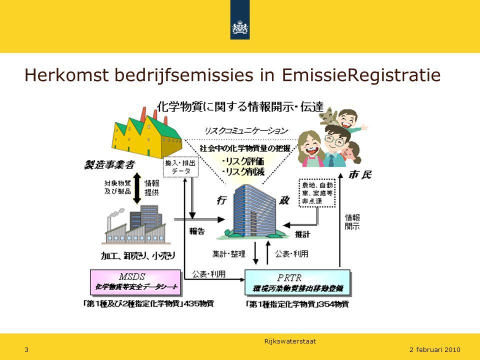 Rijkswaterstaat 32 februari 2010 Herkomst bedrijfsemissies in EmissieRegistratie