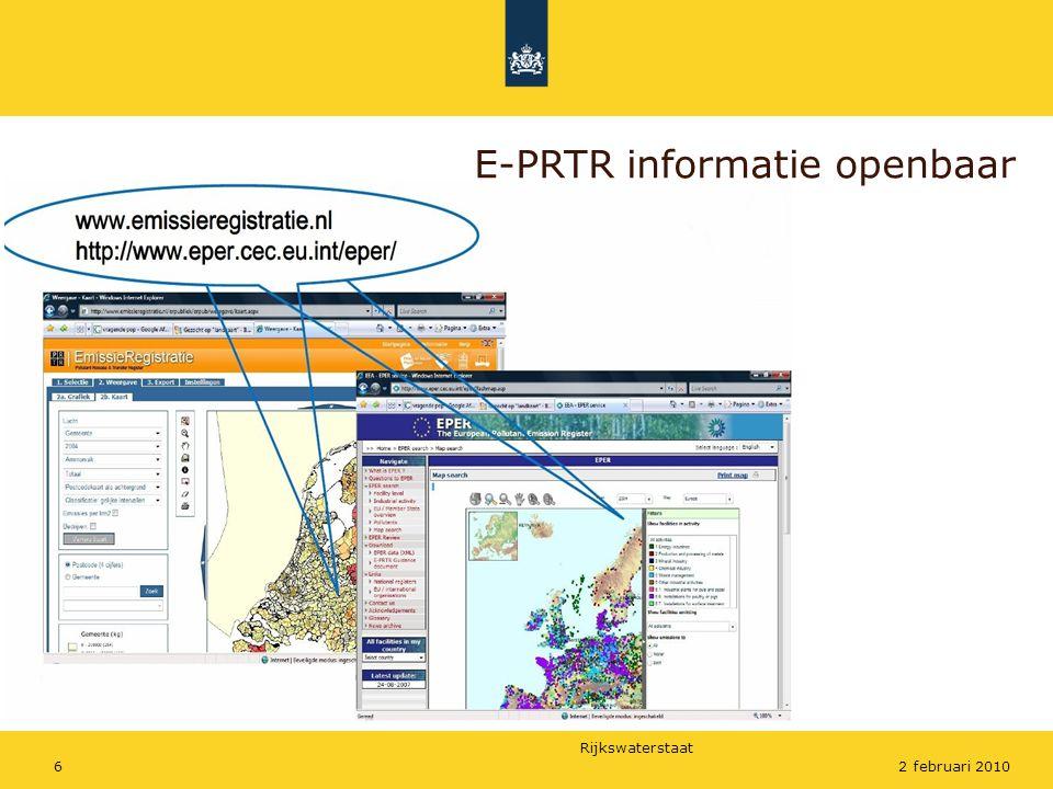 Rijkswaterstaat 62 februari 2010 E-PRTR informatie openbaar