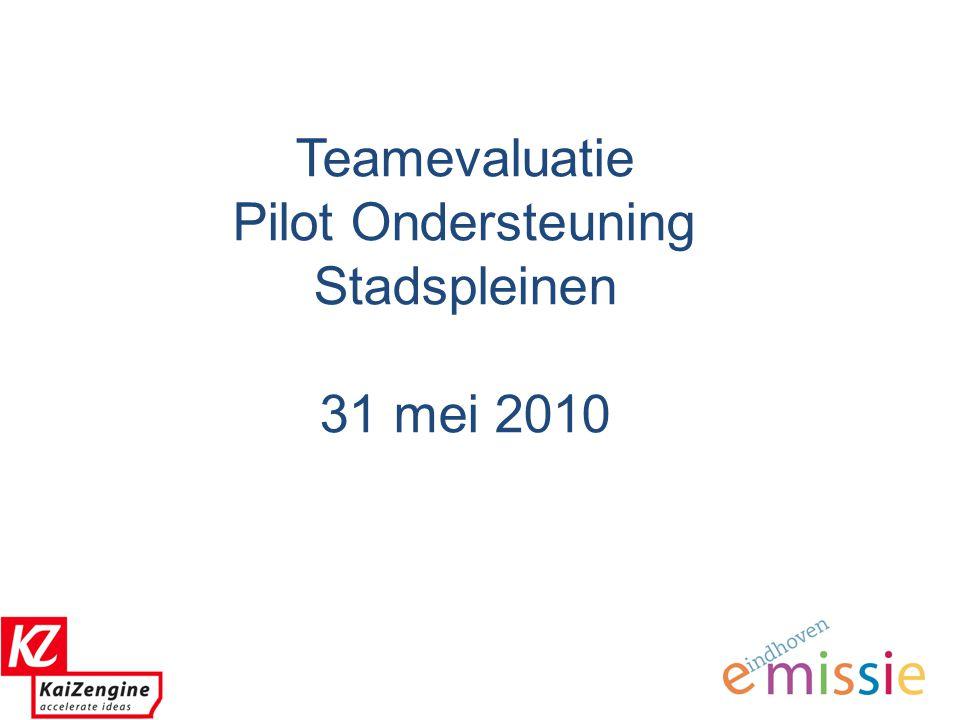 0 Teamevaluatie Pilot Ondersteuning Stadspleinen 31 mei 2010