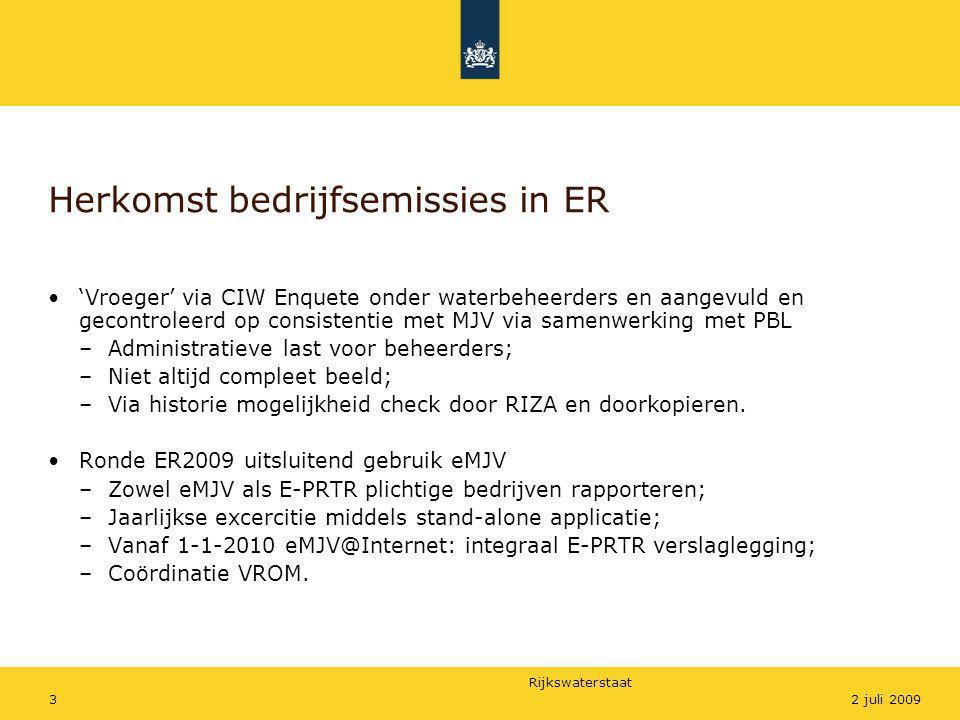 Rijkswaterstaat 32 juli 2009 Herkomst bedrijfsemissies in ER •'Vroeger' via CIW Enquete onder waterbeheerders en aangevuld en gecontroleerd op consist
