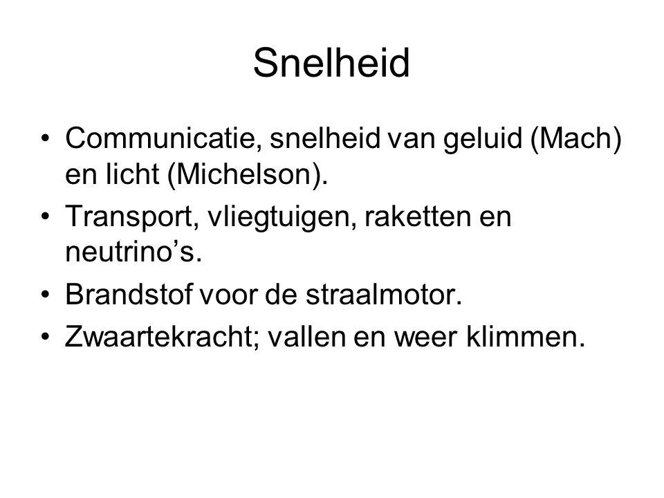 Snelheid •Communicatie, snelheid van geluid (Mach) en licht (Michelson).