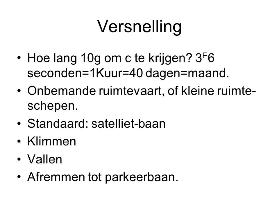 Versnelling •Hoe lang 10g om c te krijgen. 3 E 6 seconden=1Kuur=40 dagen=maand.