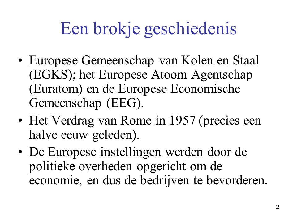 2 Een brokje geschiedenis •Europese Gemeenschap van Kolen en Staal (EGKS); het Europese Atoom Agentschap (Euratom) en de Europese Economische Gemeenschap (EEG).
