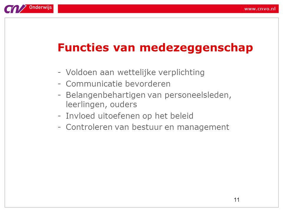 www.cnvo.nl Functies van medezeggenschap -Voldoen aan wettelijke verplichting -Communicatie bevorderen -Belangenbehartigen van personeelsleden, leerlingen, ouders -Invloed uitoefenen op het beleid -Controleren van bestuur en management 11