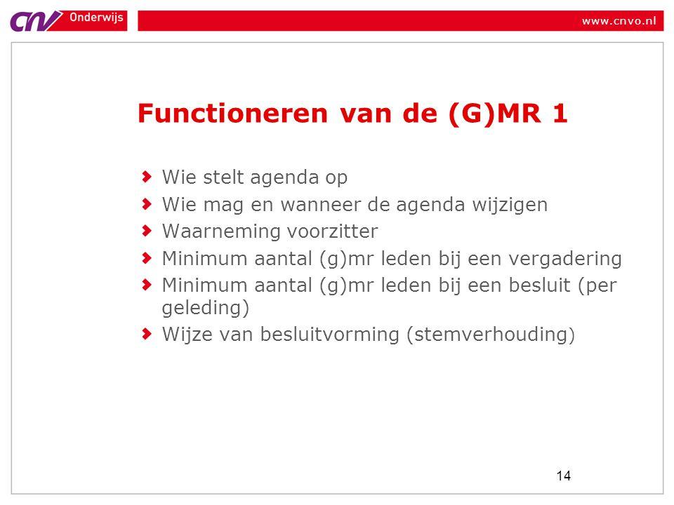 www.cnvo.nl Functioneren van de (G)MR 1 Wie stelt agenda op Wie mag en wanneer de agenda wijzigen Waarneming voorzitter Minimum aantal (g)mr leden bij een vergadering Minimum aantal (g)mr leden bij een besluit (per geleding) Wijze van besluitvorming (stemverhouding ) 14
