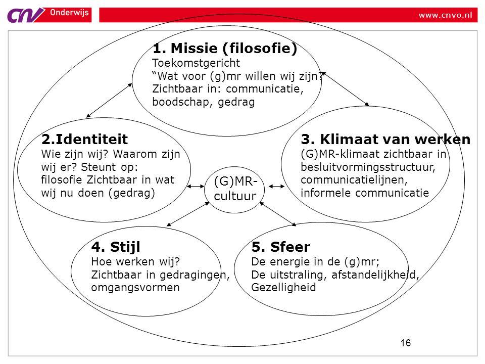 www.cnvo.nl 16 1.Missie (filosofie) Toekomstgericht Wat voor (g)mr willen wij zijn.