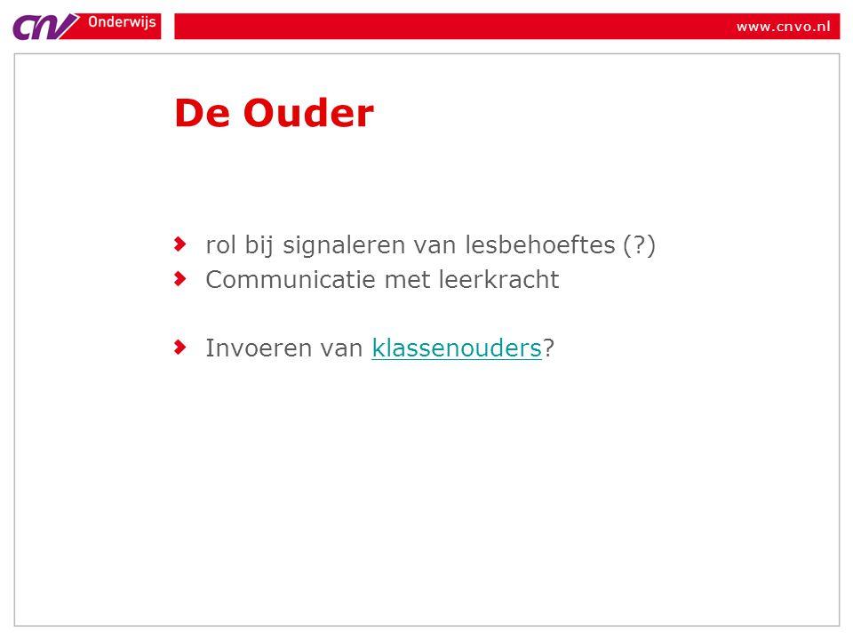 www.cnvo.nl De Ouder rol bij signaleren van lesbehoeftes (?) Communicatie met leerkracht Invoeren van klassenouders?klassenouders