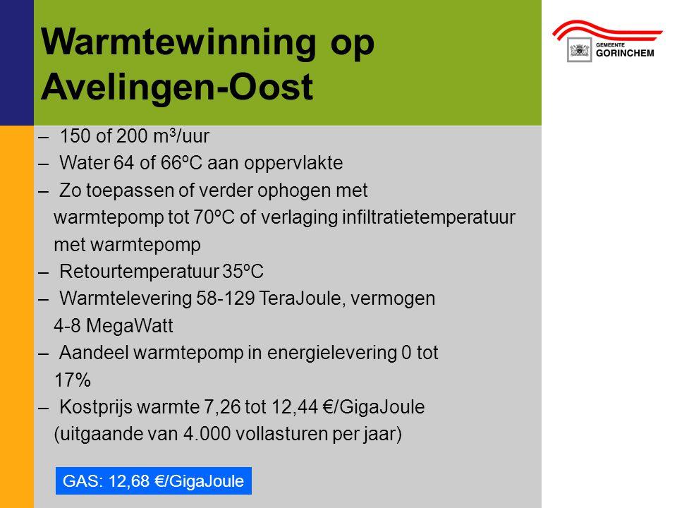 Warmtewinning op Avelingen-Oost –150 of 200 m 3 /uur –Water 64 of 66ºC aan oppervlakte –Zo toepassen of verder ophogen met warmtepomp tot 70ºC of verlaging infiltratietemperatuur met warmtepomp –Retourtemperatuur 35ºC –Warmtelevering 58-129 TeraJoule, vermogen 4-8 MegaWatt –Aandeel warmtepomp in energielevering 0 tot 17% –Kostprijs warmte 7,26 tot 12,44 €/GigaJoule (uitgaande van 4.000 vollasturen per jaar) GAS: 12,68 €/GigaJoule