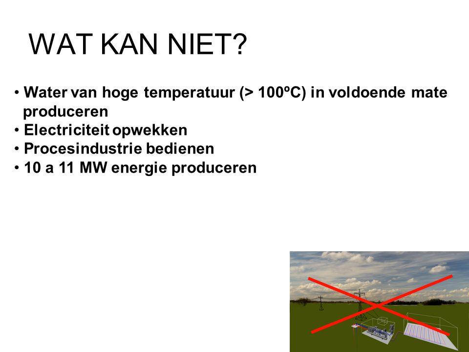 WAT KAN NIET? • Water van hoge temperatuur (> 100ºC) in voldoende mate produceren • Electriciteit opwekken • Procesindustrie bedienen • 10 a 11 MW ene
