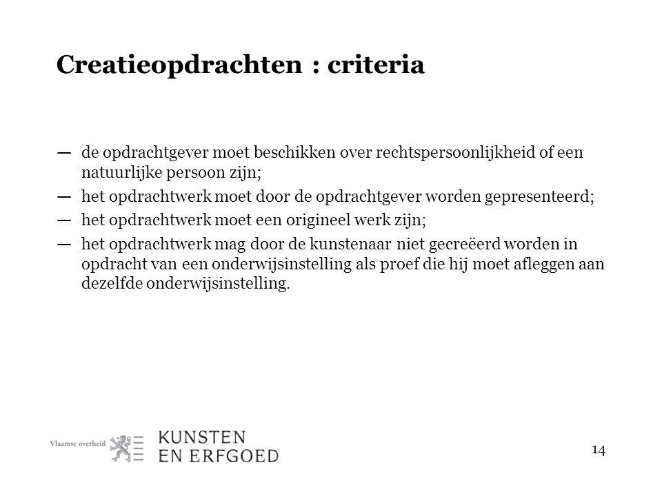 14 Creatieopdrachten : criteria — de opdrachtgever moet beschikken over rechtspersoonlijkheid of een natuurlijke persoon zijn; — het opdrachtwerk moet