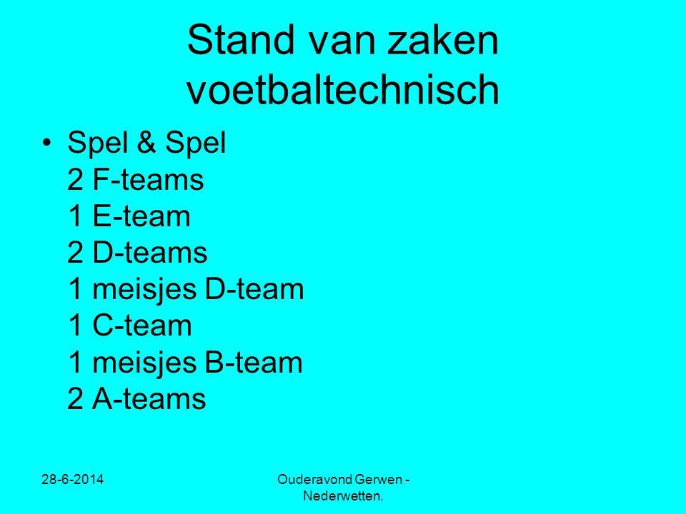•Spel & Spel 2 F-teams 1 E-team 2 D-teams 1 meisjes D-team 1 C-team 1 meisjes B-team 2 A-teams 28-6-2014Ouderavond Gerwen - Nederwetten.