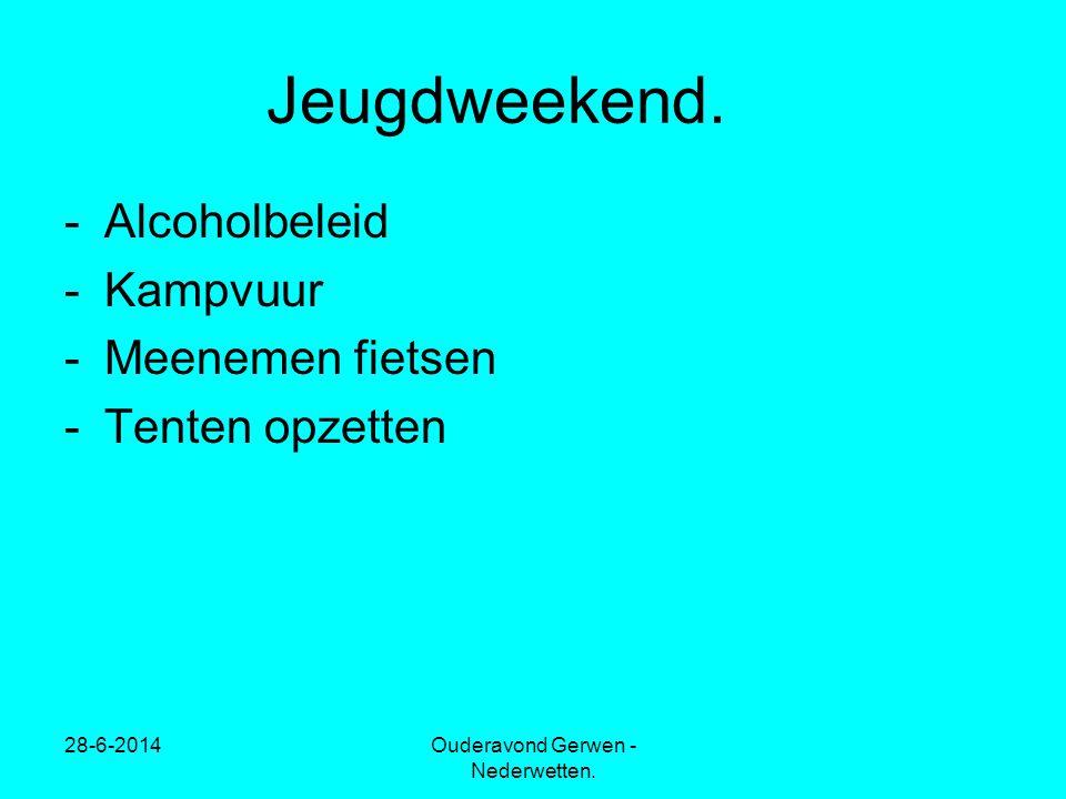 28-6-2014Ouderavond Gerwen - Nederwetten. Jeugdweekend. -Alcoholbeleid -Kampvuur -Meenemen fietsen -Tenten opzetten