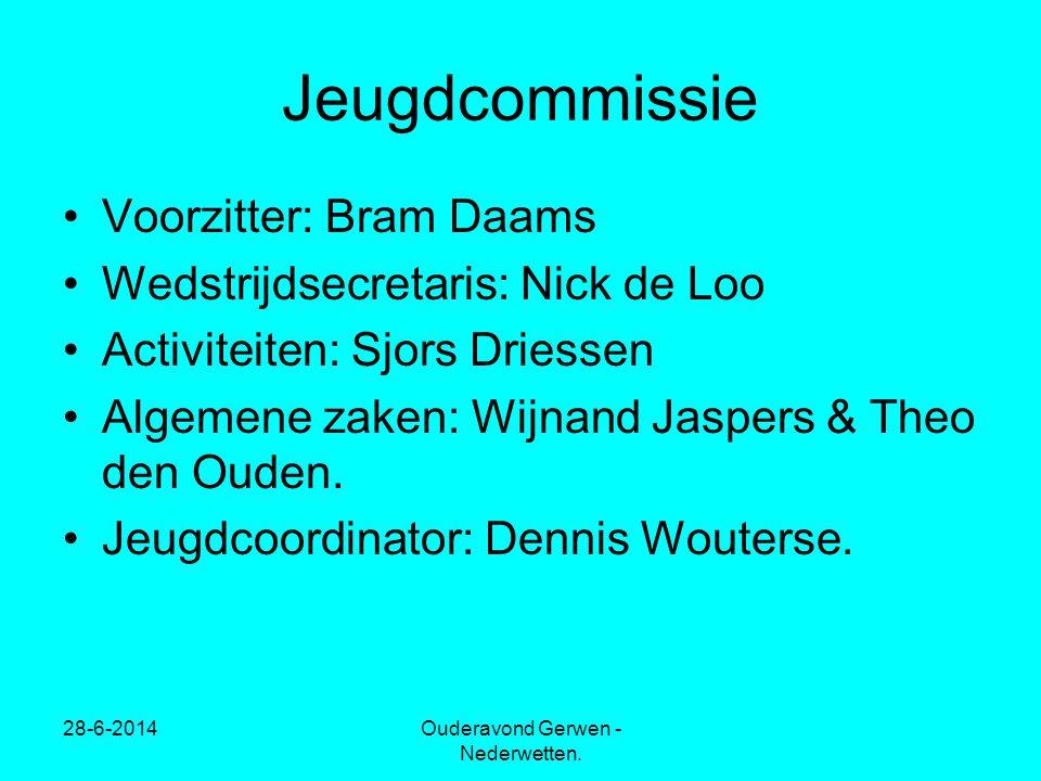 28-6-2014Ouderavond Gerwen - Nederwetten. Jeugdcommissie •Voorzitter: Bram Daams •Wedstrijdsecretaris: Nick de Loo •Activiteiten: Sjors Driessen •Alge