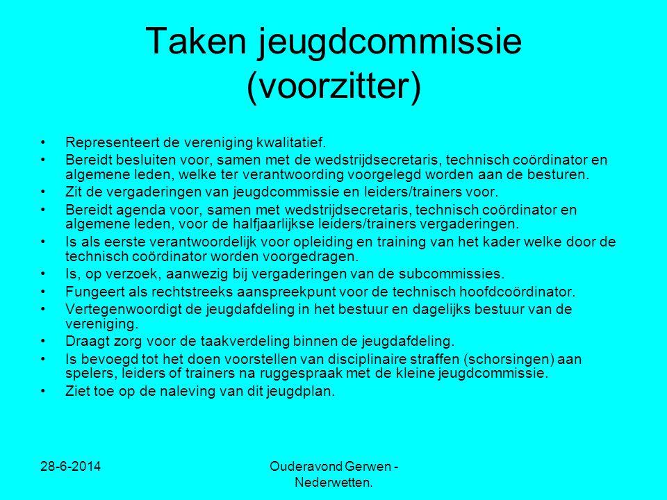 28-6-2014Ouderavond Gerwen - Nederwetten. Taken jeugdcommissie (voorzitter) •Representeert de vereniging kwalitatief. •Bereidt besluiten voor, samen m