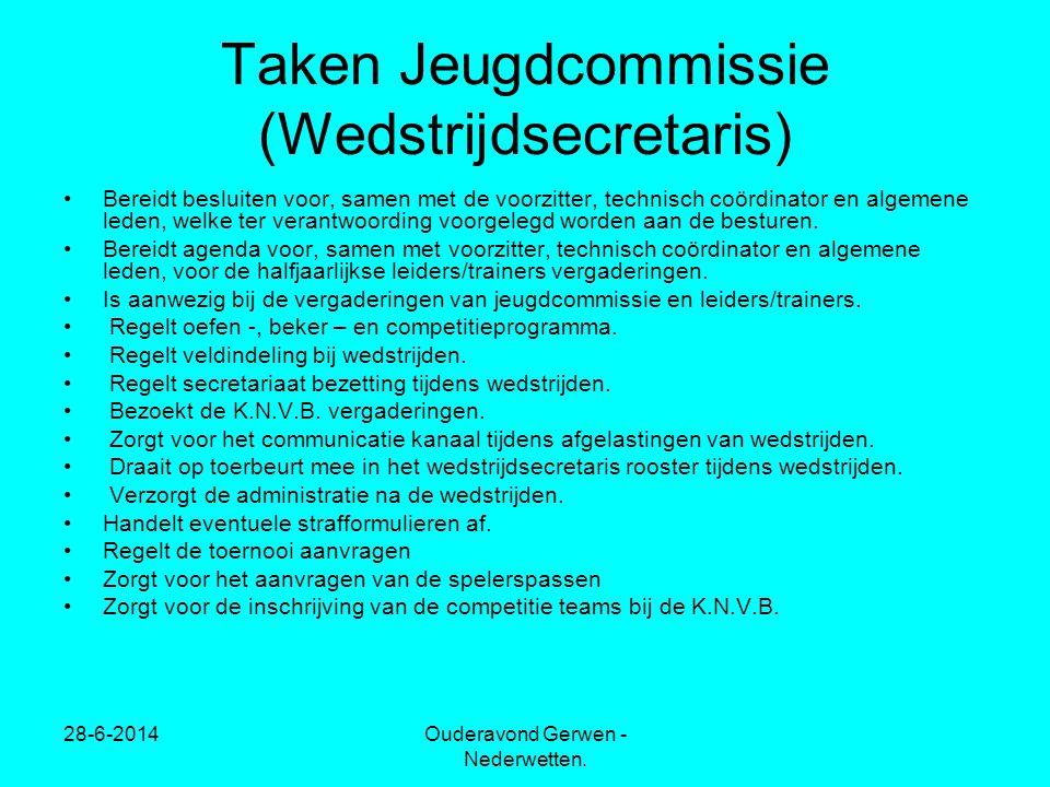 28-6-2014Ouderavond Gerwen - Nederwetten. Taken Jeugdcommissie (Wedstrijdsecretaris) •Bereidt besluiten voor, samen met de voorzitter, technisch coörd