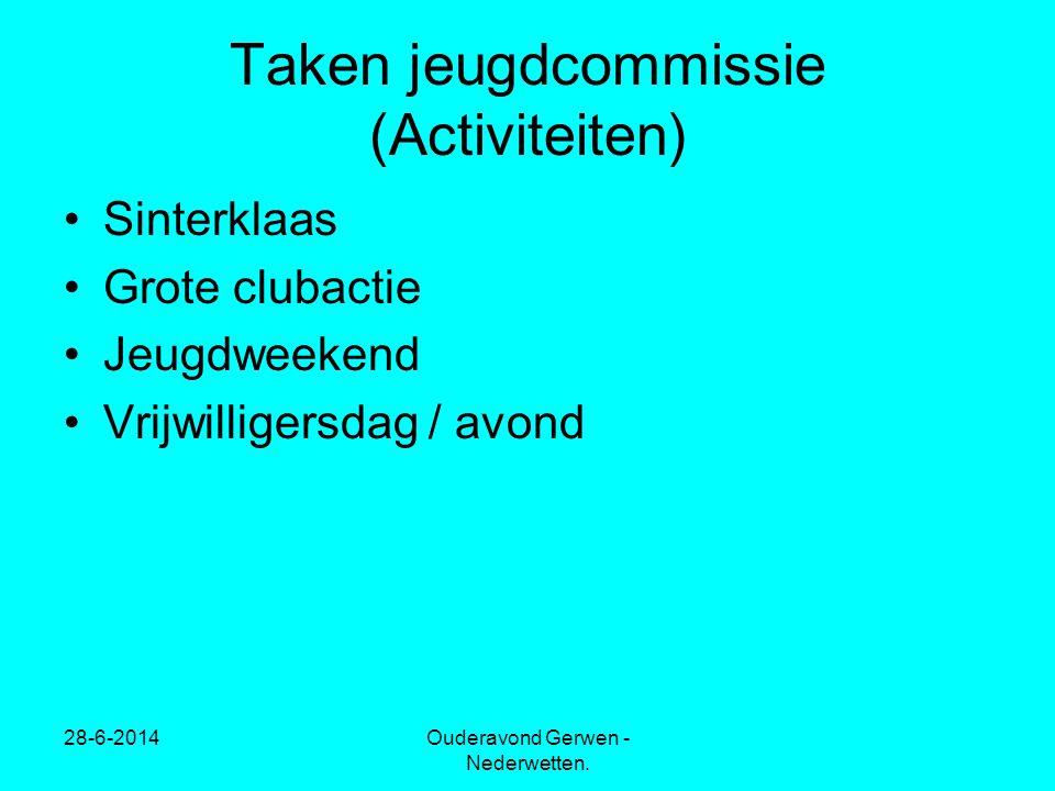 28-6-2014Ouderavond Gerwen - Nederwetten. Taken jeugdcommissie (Activiteiten) •Sinterklaas •Grote clubactie •Jeugdweekend •Vrijwilligersdag / avond