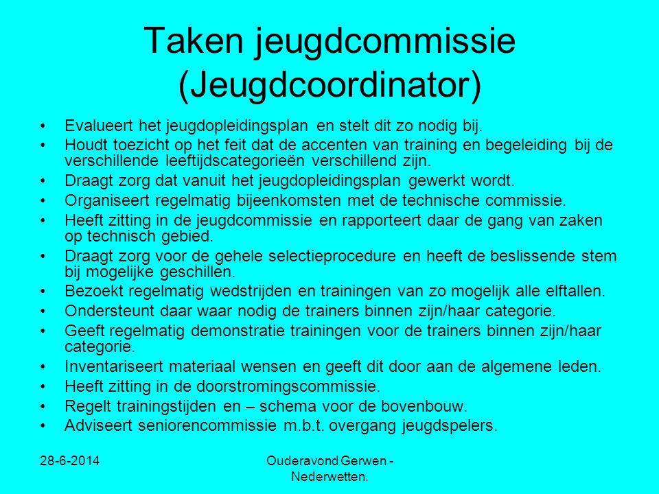28-6-2014Ouderavond Gerwen - Nederwetten. Taken jeugdcommissie (Jeugdcoordinator) •Evalueert het jeugdopleidingsplan en stelt dit zo nodig bij. •Houdt