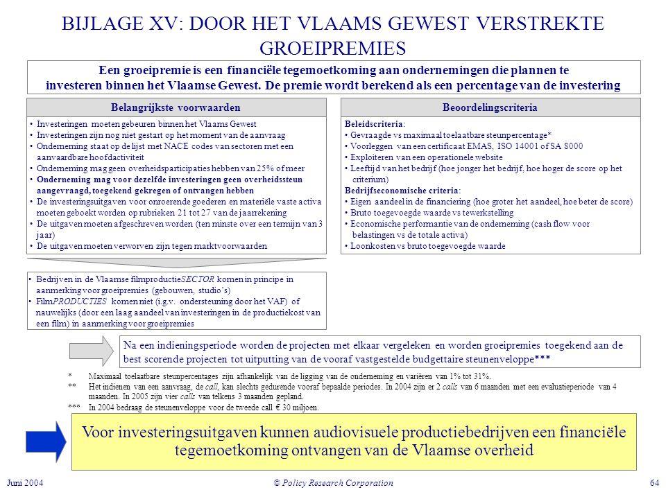 © Policy Research Corporation 64Juni 2004 BIJLAGE XV: DOOR HET VLAAMS GEWEST VERSTREKTE GROEIPREMIES Voor investeringsuitgaven kunnen audiovisuele productiebedrijven een financiële tegemoetkoming ontvangen van de Vlaamse overheid Een groeipremie is een financiële tegemoetkoming aan ondernemingen die plannen te investeren binnen het Vlaamse Gewest.