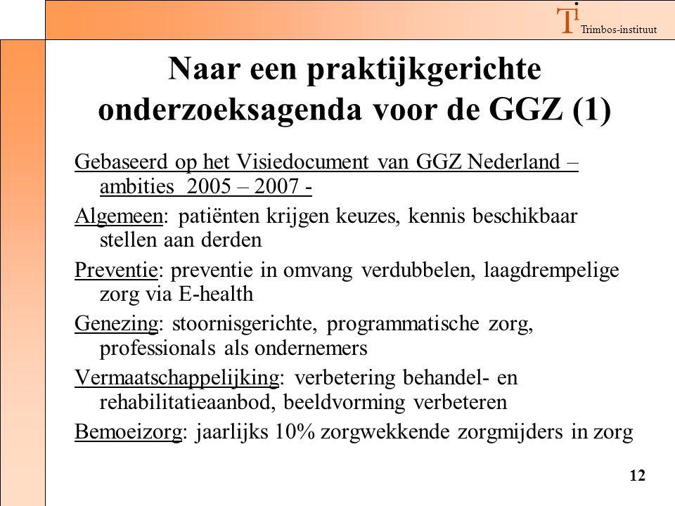 Trimbos-instituut 12 Naar een praktijkgerichte onderzoeksagenda voor de GGZ (1) Gebaseerd op het Visiedocument van GGZ Nederland – ambities 2005 – 200