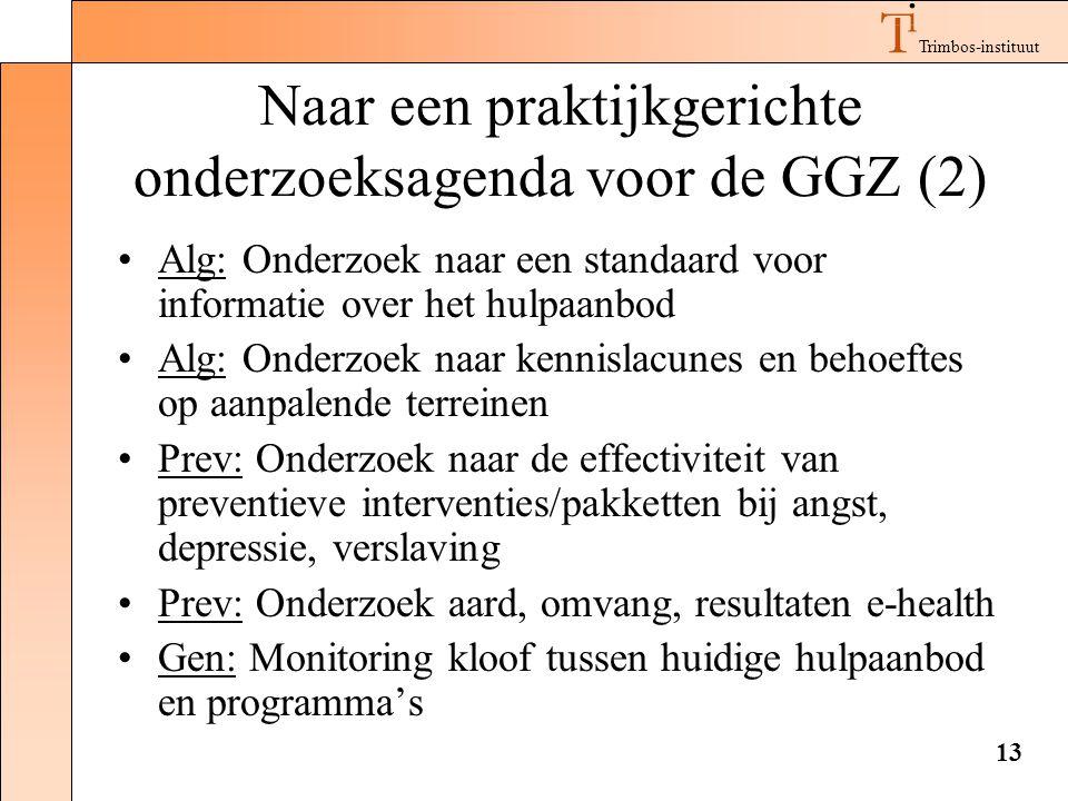 Trimbos-instituut 13 Naar een praktijkgerichte onderzoeksagenda voor de GGZ (2) •Alg: Onderzoek naar een standaard voor informatie over het hulpaanbod