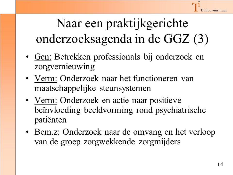 Trimbos-instituut 14 Naar een praktijkgerichte onderzoeksagenda in de GGZ (3) •Gen: Betrekken professionals bij onderzoek en zorgvernieuwing •Verm: On