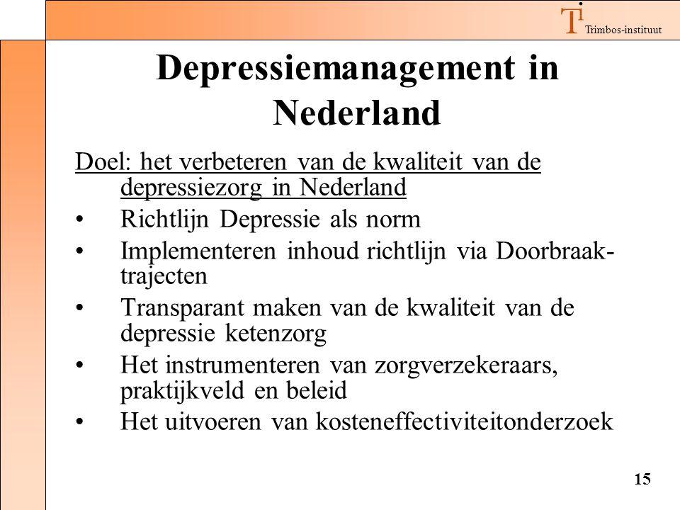 Trimbos-instituut 15 Depressiemanagement in Nederland Doel: het verbeteren van de kwaliteit van de depressiezorg in Nederland •Richtlijn Depressie als norm •Implementeren inhoud richtlijn via Doorbraak- trajecten •Transparant maken van de kwaliteit van de depressie ketenzorg •Het instrumenteren van zorgverzekeraars, praktijkveld en beleid •Het uitvoeren van kosteneffectiviteitonderzoek