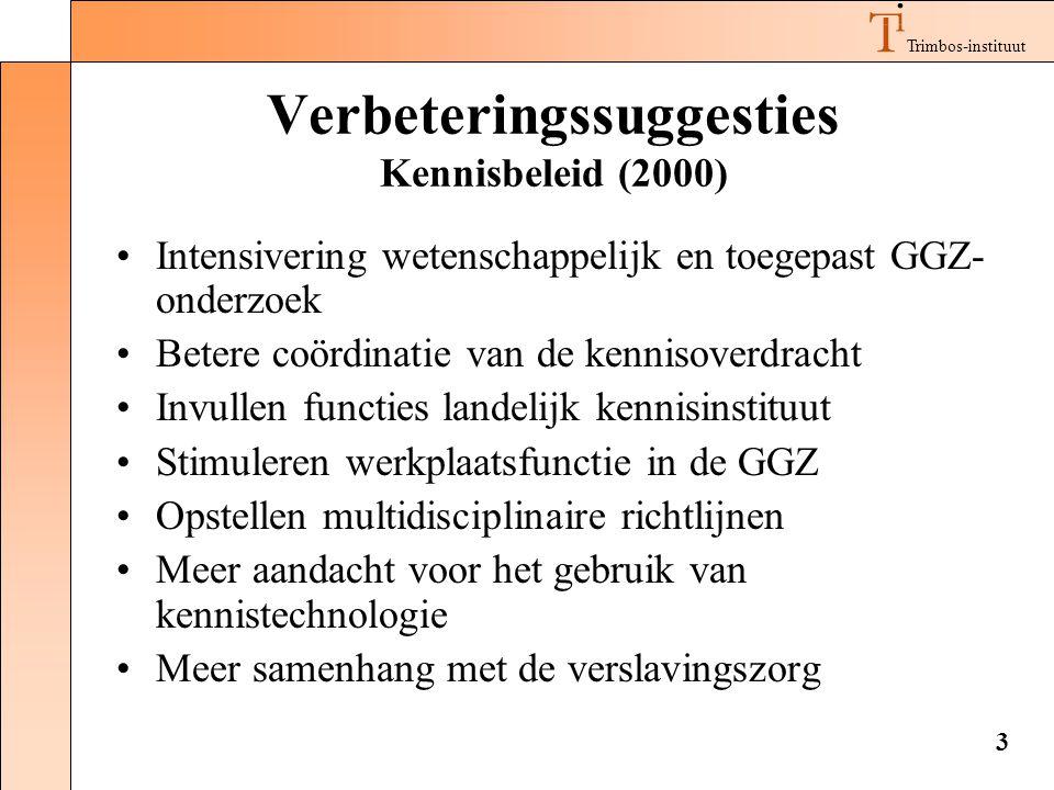 Trimbos-instituut 3 Verbeteringssuggesties Kennisbeleid (2000) •Intensivering wetenschappelijk en toegepast GGZ- onderzoek •Betere coördinatie van de