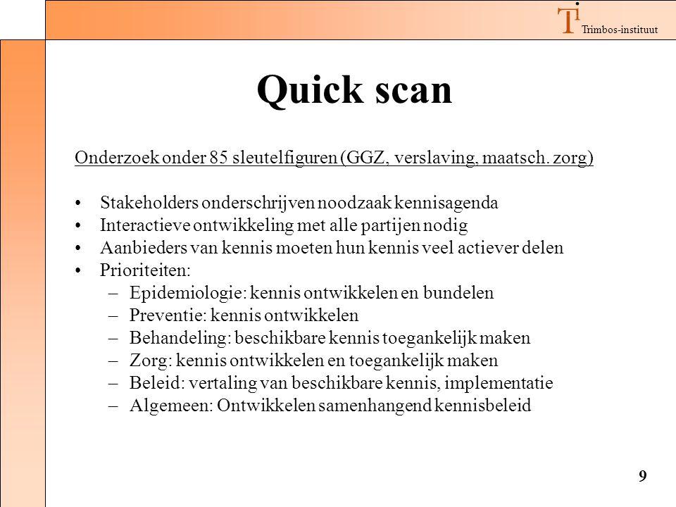 Trimbos-instituut 9 Quick scan Onderzoek onder 85 sleutelfiguren (GGZ, verslaving, maatsch. zorg) •Stakeholders onderschrijven noodzaak kennisagenda •