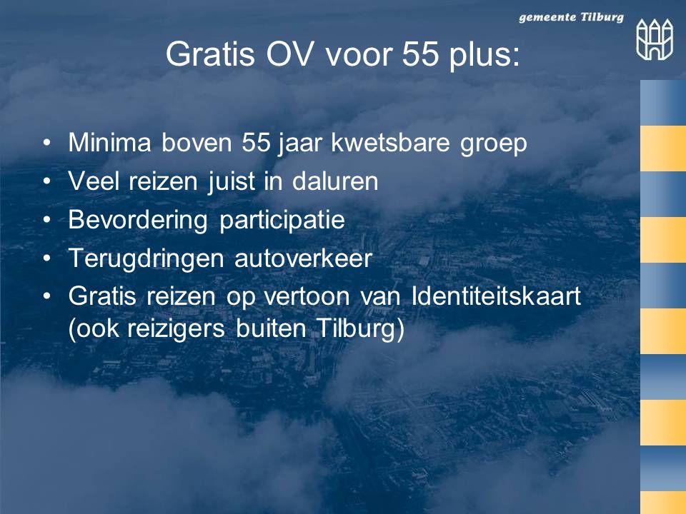 Gratis OV voor 55 plus: •Minima boven 55 jaar kwetsbare groep •Veel reizen juist in daluren •Bevordering participatie •Terugdringen autoverkeer •Gratis reizen op vertoon van Identiteitskaart (ook reizigers buiten Tilburg)