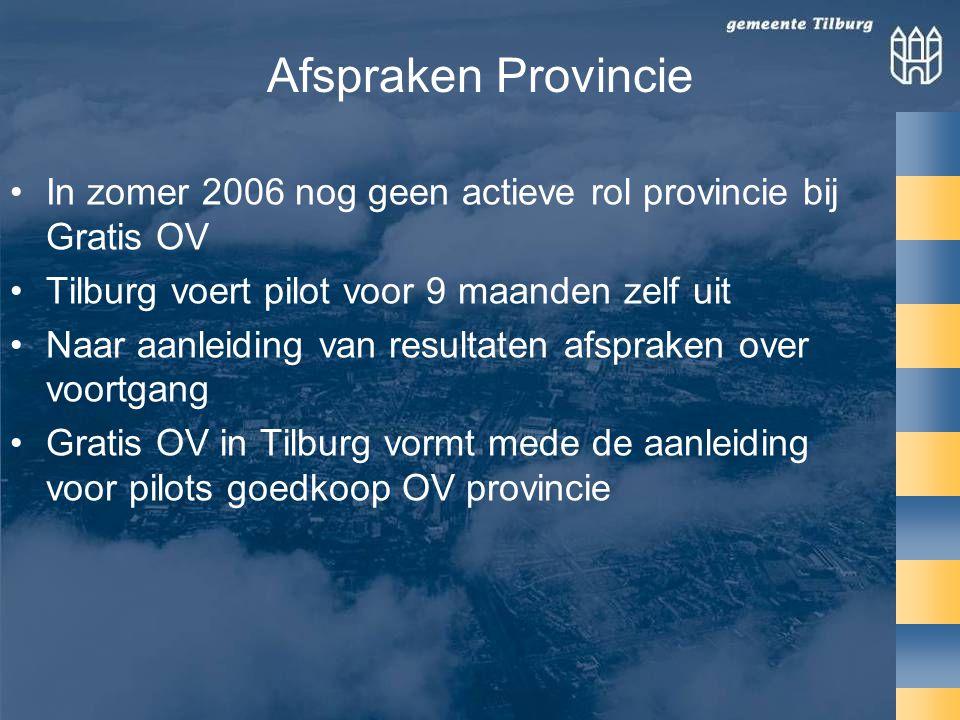 Afspraken Provincie •In zomer 2006 nog geen actieve rol provincie bij Gratis OV •Tilburg voert pilot voor 9 maanden zelf uit •Naar aanleiding van resultaten afspraken over voortgang •Gratis OV in Tilburg vormt mede de aanleiding voor pilots goedkoop OV provincie