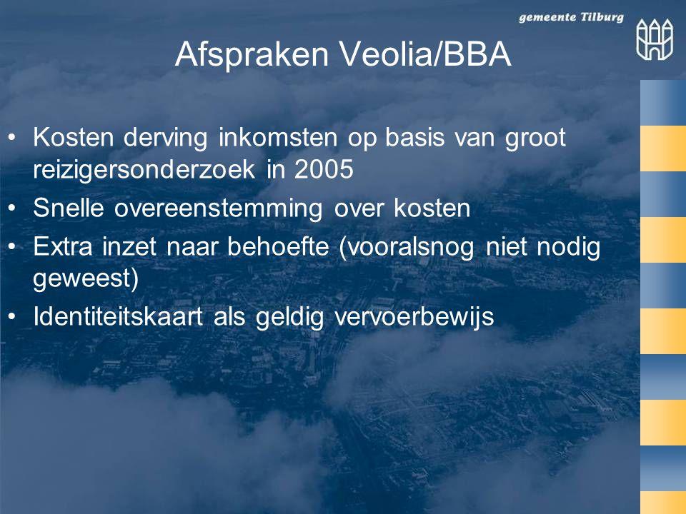 Afspraken Veolia/BBA •Kosten derving inkomsten op basis van groot reizigersonderzoek in 2005 •Snelle overeenstemming over kosten •Extra inzet naar behoefte (vooralsnog niet nodig geweest) •Identiteitskaart als geldig vervoerbewijs