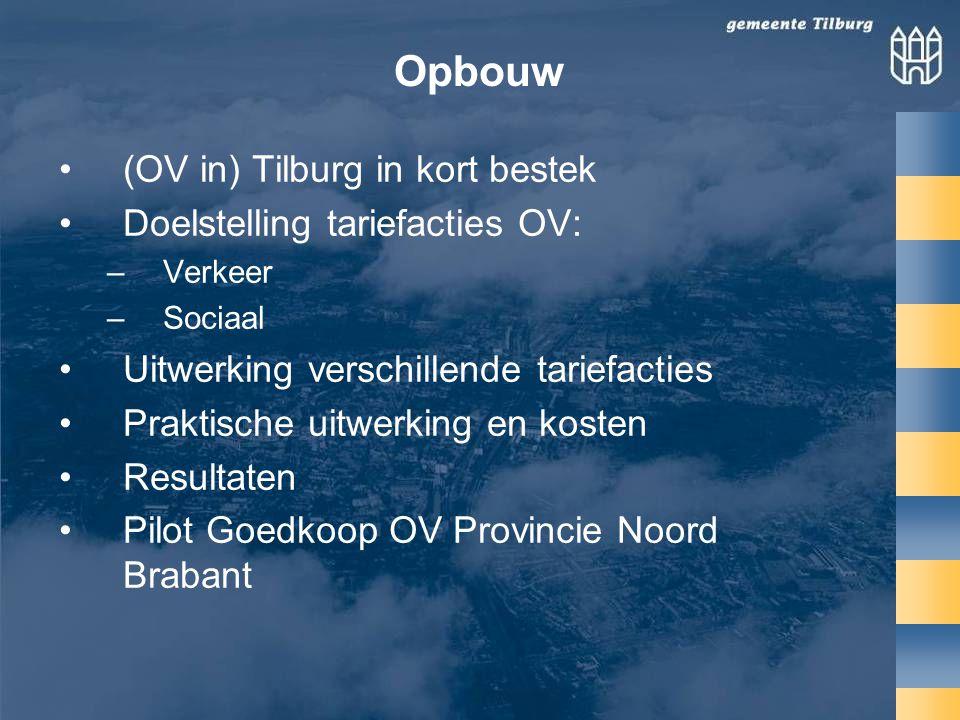Opbouw •(OV in) Tilburg in kort bestek •Doelstelling tariefacties OV: –Verkeer –Sociaal •Uitwerking verschillende tariefacties •Praktische uitwerking en kosten •Resultaten •Pilot Goedkoop OV Provincie Noord Brabant