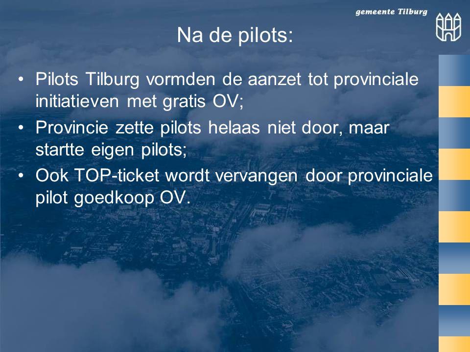 Na de pilots: •Pilots Tilburg vormden de aanzet tot provinciale initiatieven met gratis OV; •Provincie zette pilots helaas niet door, maar startte eigen pilots; •Ook TOP-ticket wordt vervangen door provinciale pilot goedkoop OV.