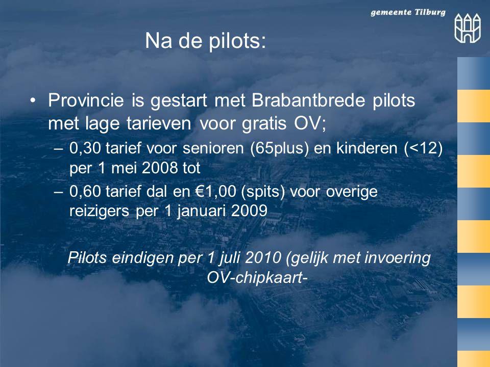 •Provincie is gestart met Brabantbrede pilots met lage tarieven voor gratis OV; –0,30 tarief voor senioren (65plus) en kinderen (<12) per 1 mei 2008 tot –0,60 tarief dal en €1,00 (spits) voor overige reizigers per 1 januari 2009 Pilots eindigen per 1 juli 2010 (gelijk met invoering OV-chipkaart- Na de pilots: