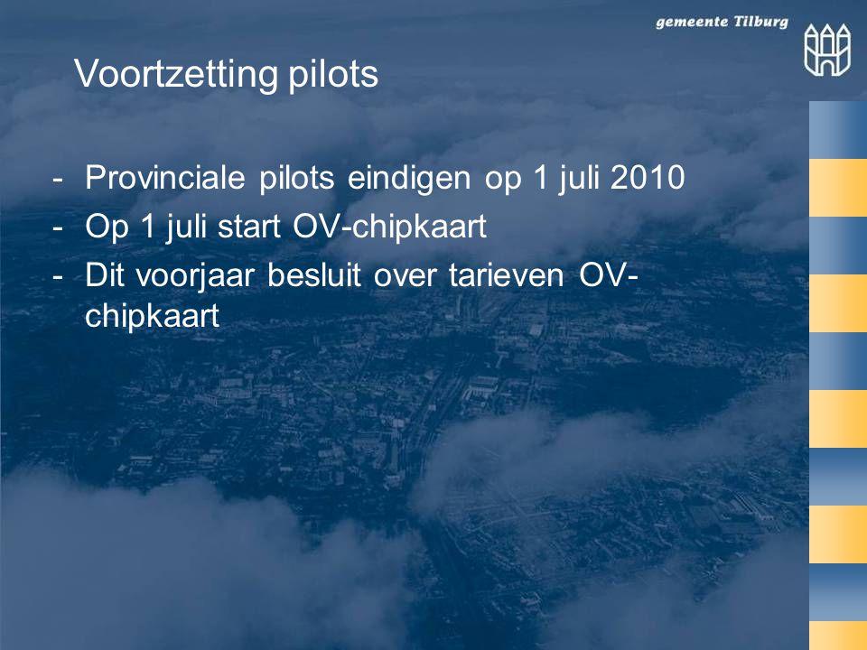 -Provinciale pilots eindigen op 1 juli 2010 -Op 1 juli start OV-chipkaart -Dit voorjaar besluit over tarieven OV- chipkaart Voortzetting pilots