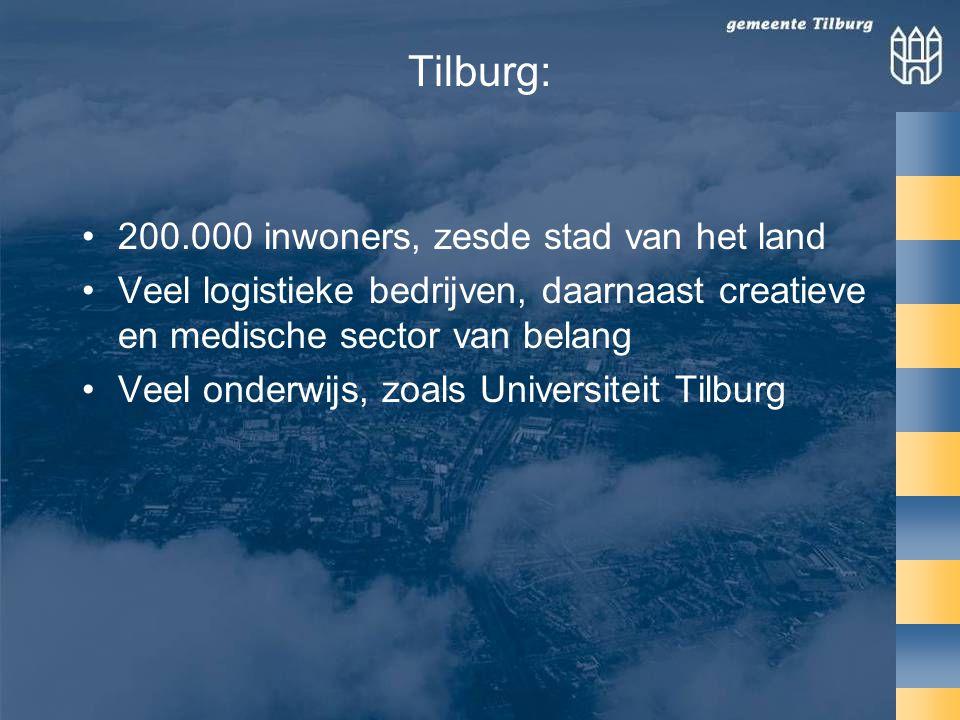 Tilburg: •200.000 inwoners, zesde stad van het land •Veel logistieke bedrijven, daarnaast creatieve en medische sector van belang •Veel onderwijs, zoals Universiteit Tilburg