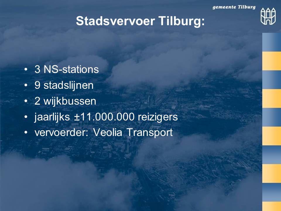 Stadsvervoer Tilburg: •3 NS-stations •9 stadslijnen •2 wijkbussen •jaarlijks ±11.000.000 reizigers •vervoerder: Veolia Transport