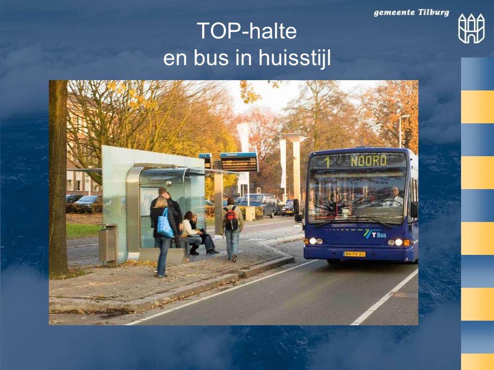 TOP-halte en bus in huisstijl