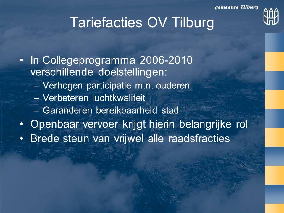 Tariefacties OV Tilburg •In Collegeprogramma 2006-2010 verschillende doelstellingen: –Verhogen participatie m.n.