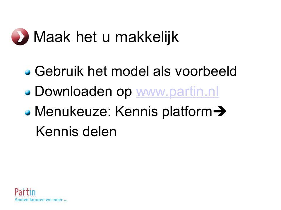 Samen kunnen we meer … Maak het u makkelijk Gebruik het model als voorbeeld Downloaden op www.partin.nlwww.partin.nl Menukeuze: Kennis platform  Kennis delen