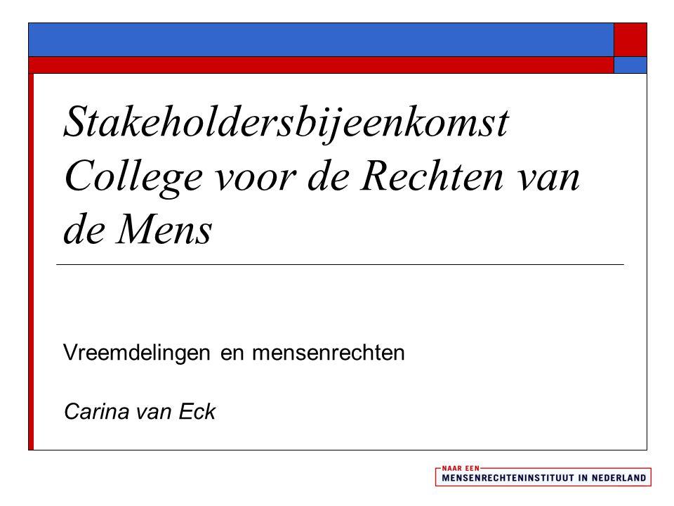 Stakeholdersbijeenkomst College voor de Rechten van de Mens Vreemdelingen en mensenrechten Carina van Eck