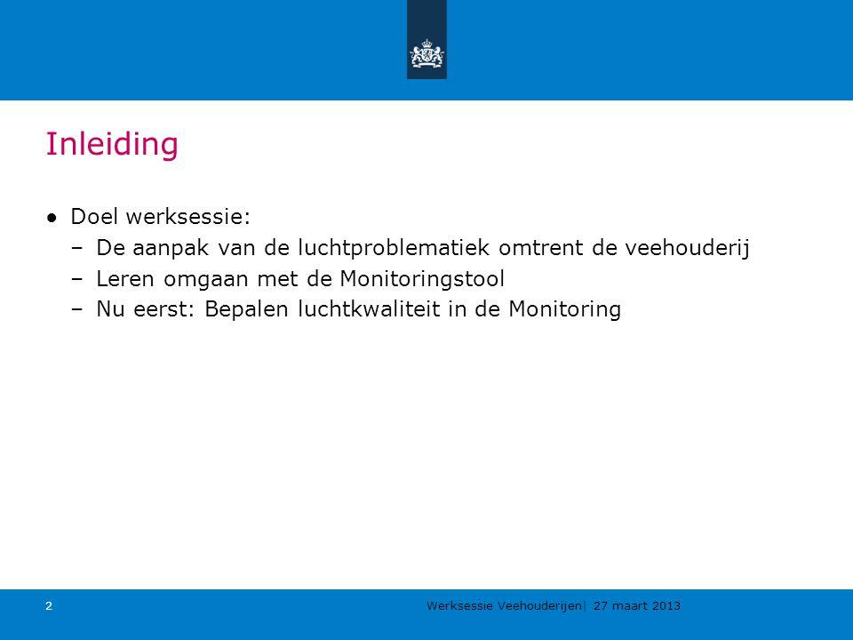 Werksessie Veehouderijen| 27 maart 2013 2 Inleiding ●Doel werksessie: –De aanpak van de luchtproblematiek omtrent de veehouderij –Leren omgaan met de Monitoringstool –Nu eerst: Bepalen luchtkwaliteit in de Monitoring