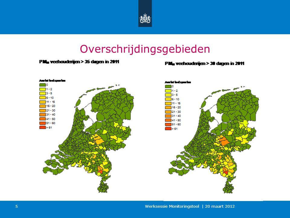 Werkwijze Monitoring (2013) ●400-500 prioritaire veehouderijlocaties ●Jaarlijkse actualisatie van lokale invoergegevens door bevoegd gezag ●Jaarlijkse actualisatie GCN èn emissiefactoren ●Op de 'te beschermen objecten' wordt de luchtkwaliteit berekend èn getoetst aan de jaar- en dagnorm van fijn stof ●Verspreidingsberekeningen met ISL3a_v2013 ●Rekenjaar = Gepasseerd jaar ●Resultaatverwerking: zeezoutaftrek (2-4 dagen) ●De monitoringsronde 2013 is hèt eerste jaar dat volledig aan de grenswaarde getoetst kan worden.